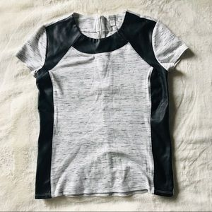 NEW T-Shirt with Faux Leather